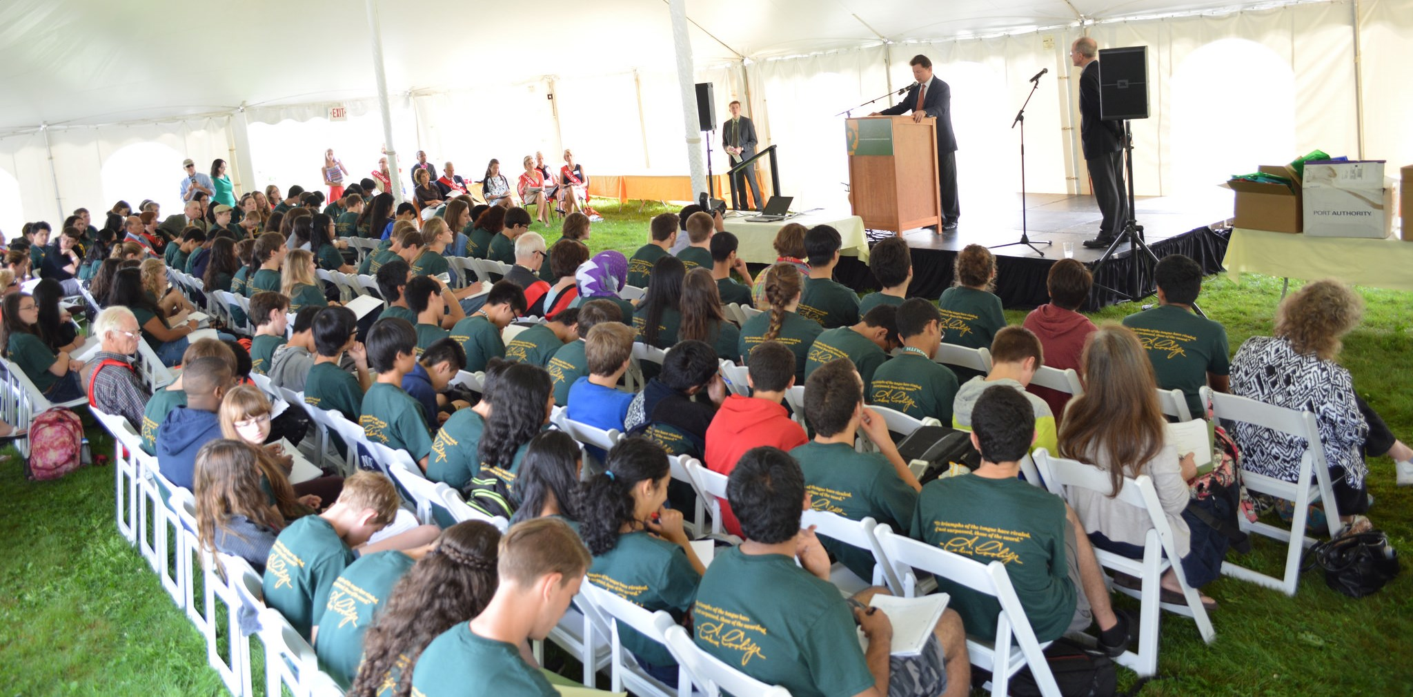 Students in big tent