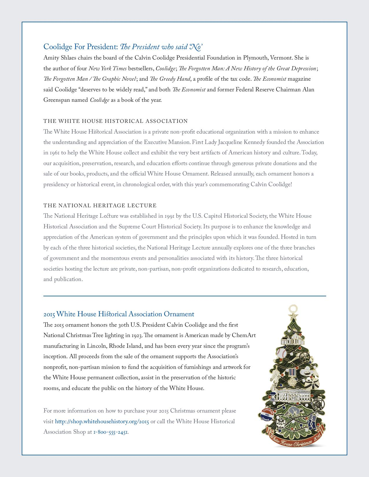 White house christmas ornaments historical society -  White House Historical Association Gift Shop During The Reception Nationalheritagelecture_invitation Page 002